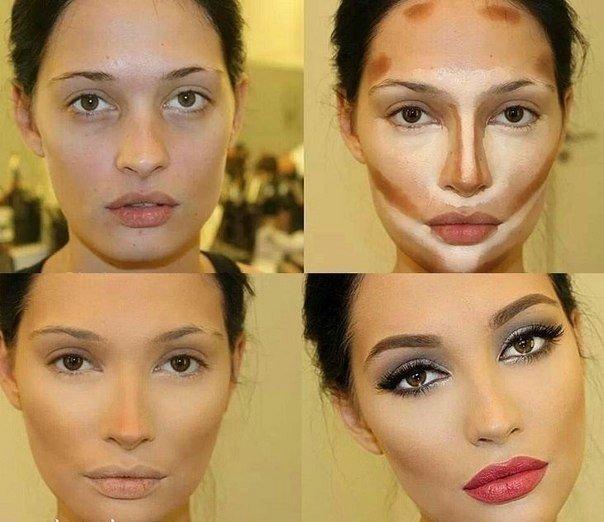 Коррекция лица помощью макияжа